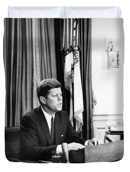 JFK Addresses The Nation  Duvet Cover by War Is Hell Store