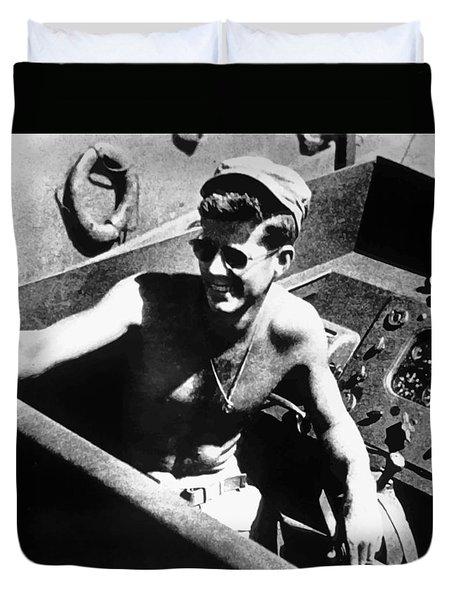 Jfk On Pt 109 Duvet Cover by War Is Hell Store