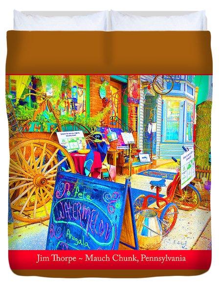 Duvet Cover featuring the digital art Jim Thorpe Pennsylvania Sidewalk And Shops by A Gurmankin