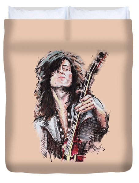 Jimmy Page Duvet Cover by Melanie D