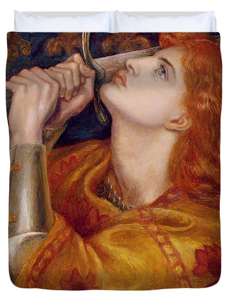 Joan Of Arc Duvet Cover by Dante Charles Gabriel Rossetti