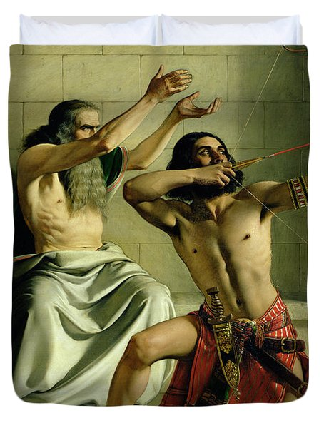 Joash Shooting The Arrow Of Deliverance Duvet Cover by William Dyce