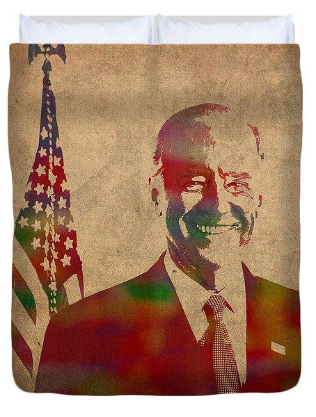 Joe Biden Watercolor Portrait Duvet Cover by Design Turnpike