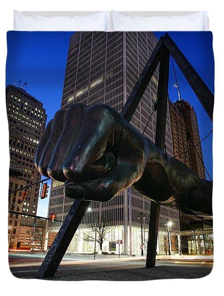 Joe Louis Fist Statue Jefferson and Woodward Ave. Detroit Michigan Duvet Cover by Gordon Dean II