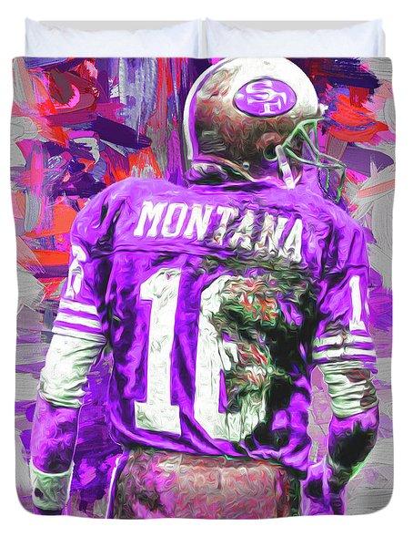 Joe Montana 16 San Francisco 49ers Football Duvet Cover by David Haskett
