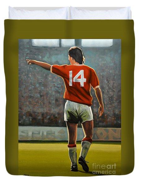 Johan Cruyff Oranje Nr 14 Duvet Cover by Paul Meijering