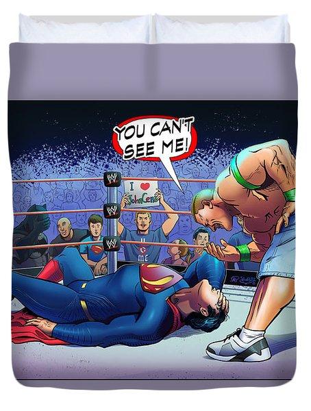 John Cena Vs Superman Duvet Cover by Khaled Alsabouni