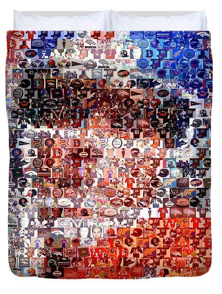 John Elway Mosaic Duvet Cover by Paul Van Scott
