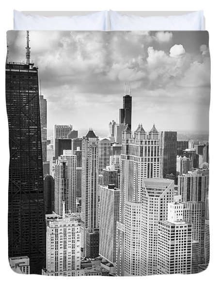John Hancock Building In The Gold Coast Black And White Duvet Cover by Adam Romanowicz