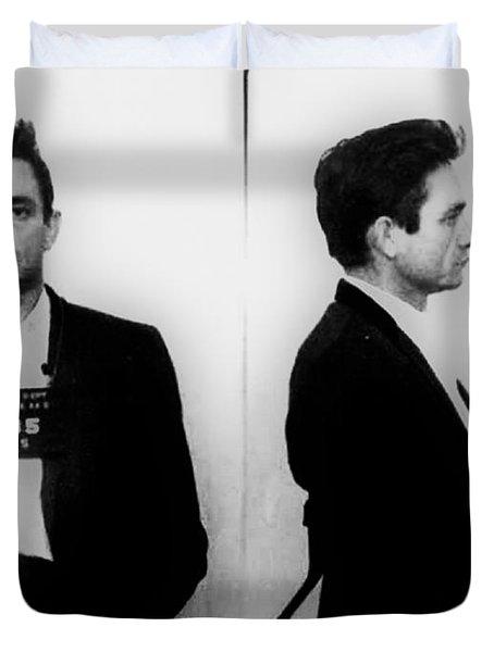 Johnny Cash Mug Shot Horizontal Duvet Cover by Tony Rubino