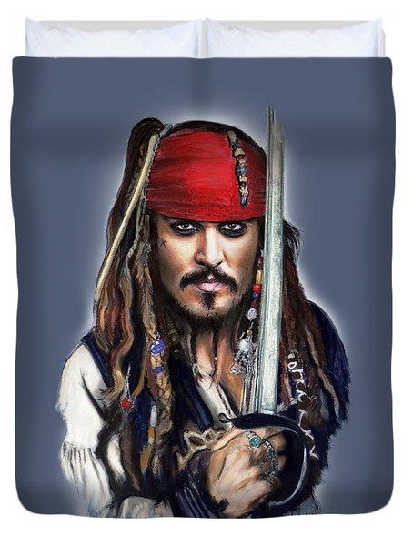 Johnny Depp As Jack Sparrow Duvet Cover by Melanie D