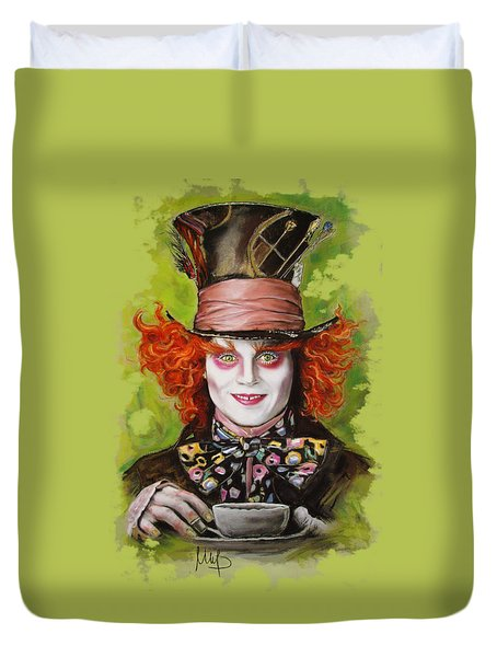 Johnny Depp As Mad Hatter Duvet Cover by Melanie D