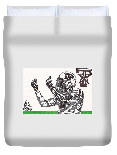 Johnny Manziel 10 Change The Play Duvet Cover by Jeremiah Colley
