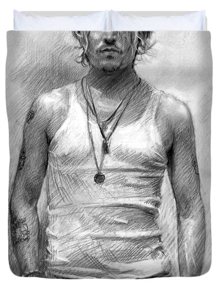 Johny Depp Duvet Cover by Ylli Haruni
