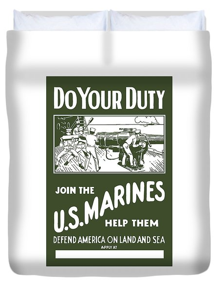 Join The US Marines Duvet Cover by War Is Hell Store