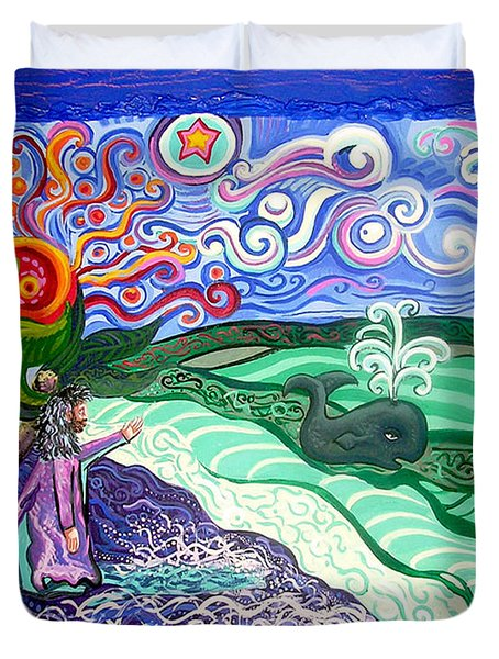 Jonah and The Whale Duvet Cover by Genevieve Esson