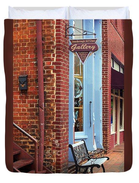 Jonesborough Tennessee Main Street Duvet Cover by Frank Romeo