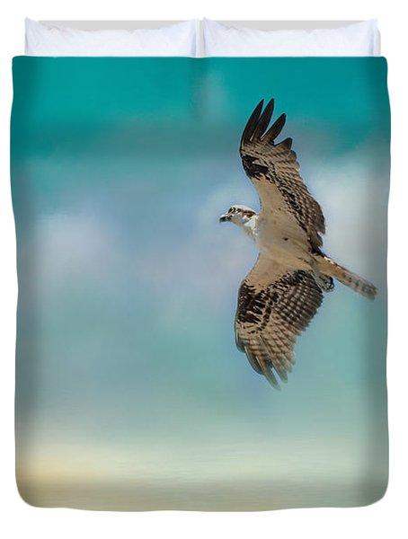 Joyful Morning Flight - Osprey Duvet Cover by Jai Johnson