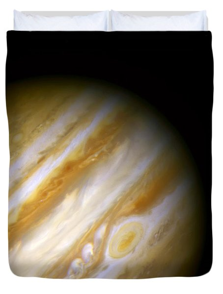 Jupiter And The Great Red Spot Duvet Cover by The  Vault - Jennifer Rondinelli Reilly