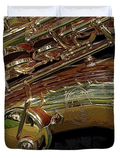 Jupiter Saxophone Duvet Cover by Michelle Calkins
