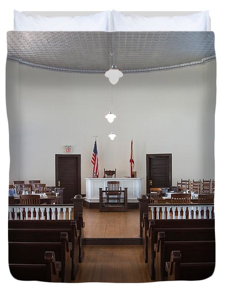 Jury Box In A Courthouse, Old Duvet Cover by Panoramic Images