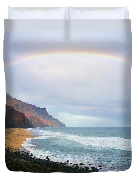 Kalalau Beach Rainbow Duvet Cover by Kevin Smith