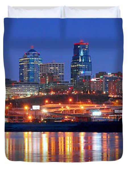 Kansas City Missouri Skyline At Night Duvet Cover by Jon Holiday