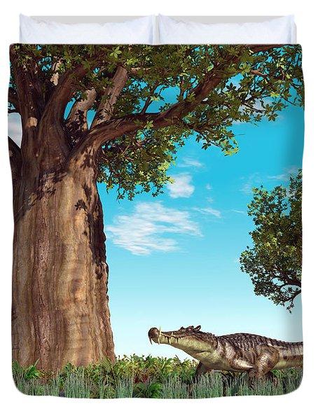 Kaprosuchus Crocodyliforms Duvet Cover by Walter Myers