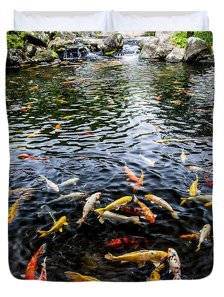 Kauai Koi Pond Duvet Cover by Darcy Michaelchuk