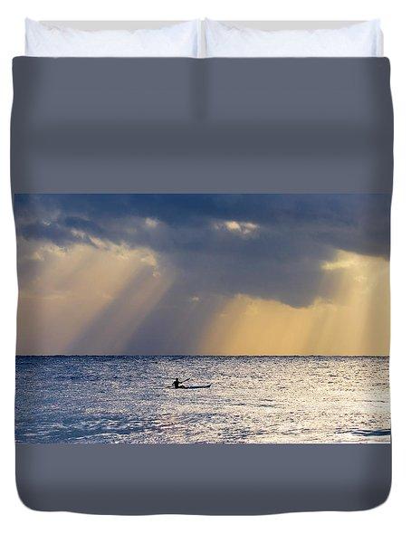 Kayak At Dawn Duvet Cover by Mike  Dawson