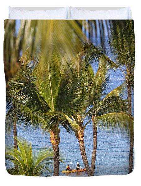 Kayakers Through Palms Duvet Cover by Ron Dahlquist - Printscapes