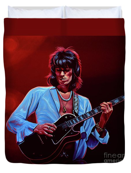 Keith Richards The Riffmaster Duvet Cover by Paul Meijering