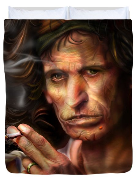 Keith Richards1-Burning lights 4 Duvet Cover by Reggie Duffie