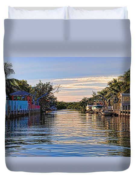 Key Largo Canal Duvet Cover by Chris Thaxter