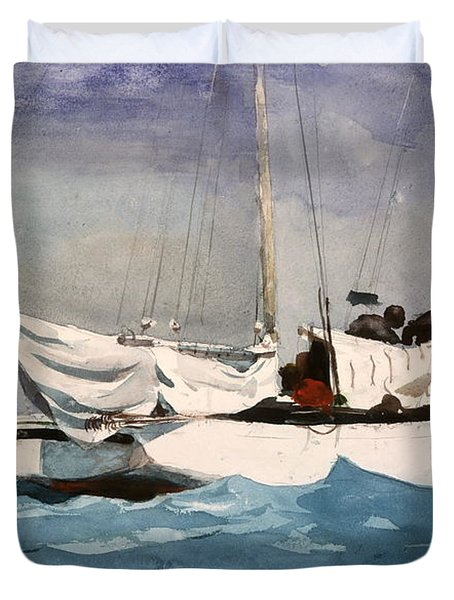 Key West Hauling Duvet Cover by Winslow Homer