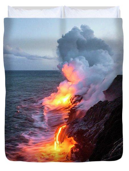 Kilauea Volcano Lava Flow Sea Entry 3- The Big Island Hawaii Duvet Cover by Brian Harig