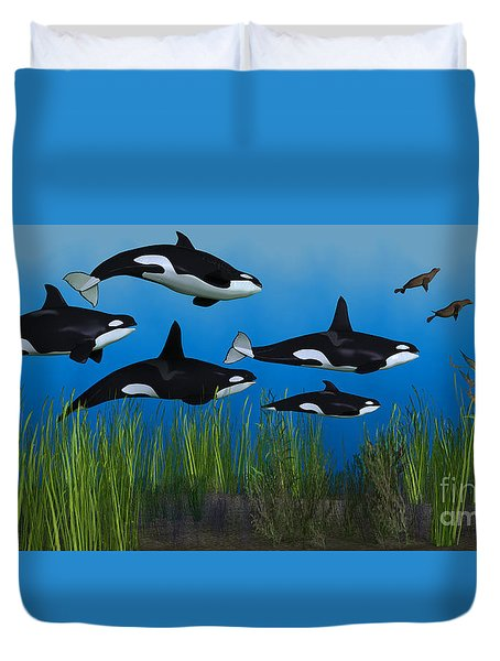 Killer Whale Pod Duvet Cover by Corey Ford