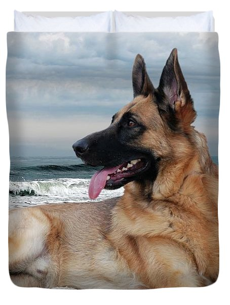 King Of The Beach - German Shepherd Dog Duvet Cover by Angie Tirado