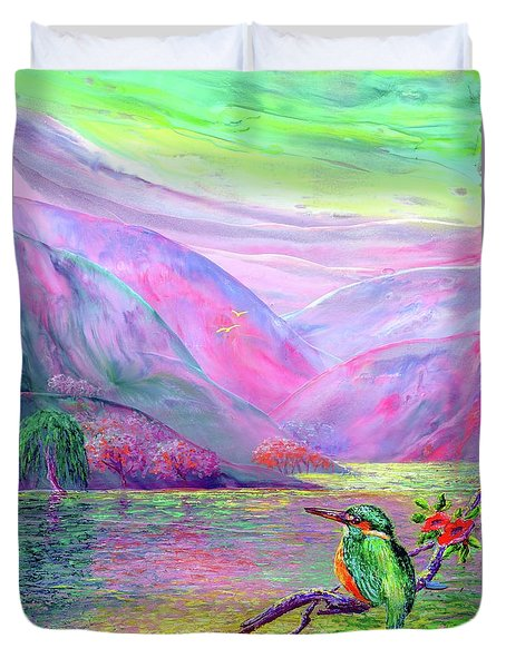 Kingfisher, Shimmering Streams Duvet Cover by Jane Small