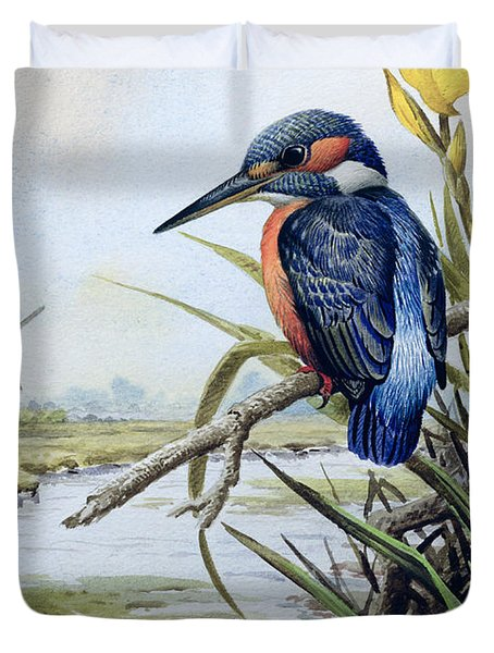 Kingfisher With Flag Iris And Windmill Duvet Cover by Carl Donner