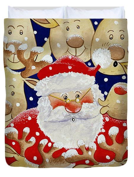 Kiss For Santa Duvet Cover by Tony Todd