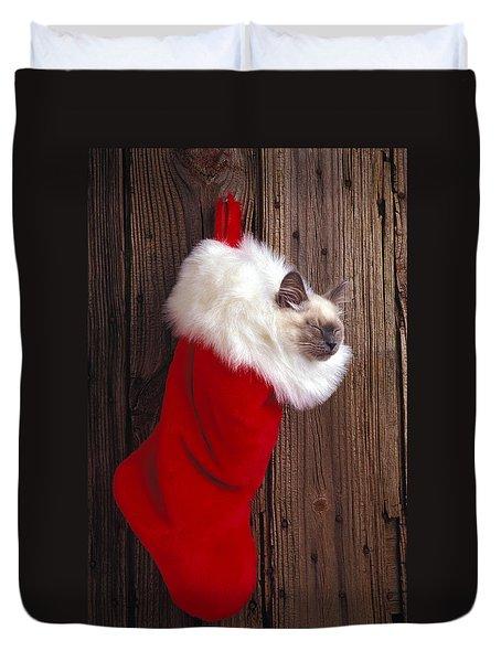 Kitten In Stocking Duvet Cover by Garry Gay