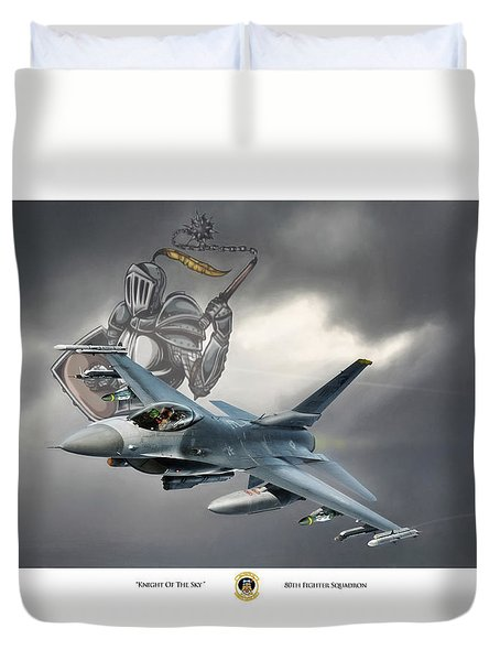 Knight Of The Sky Duvet Cover by Peter Chilelli