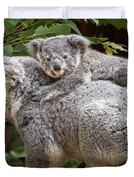 Koala Joey Piggy Back Duvet Cover by Jamie Pham