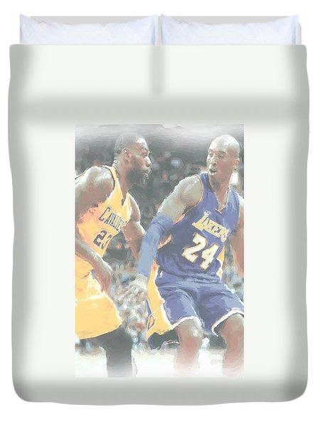 Kobe Bryant Lebron James 2 Duvet Cover by Joe Hamilton