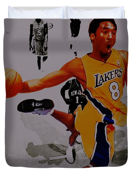 Kobe Bryant Taking Flight 3a Duvet Cover by Brian Reaves