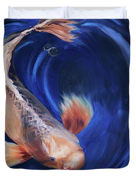 Koi Duvet Cover by Donna Tuten