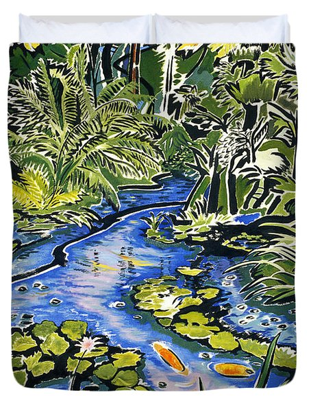 Koi pond painting by fay biegun printscapes for Koi pool cover