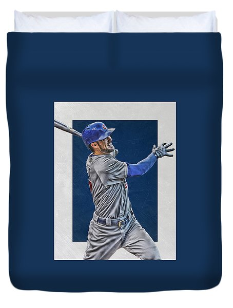 Kris Bryant Chicago Cubs Art 3 Duvet Cover by Joe Hamilton