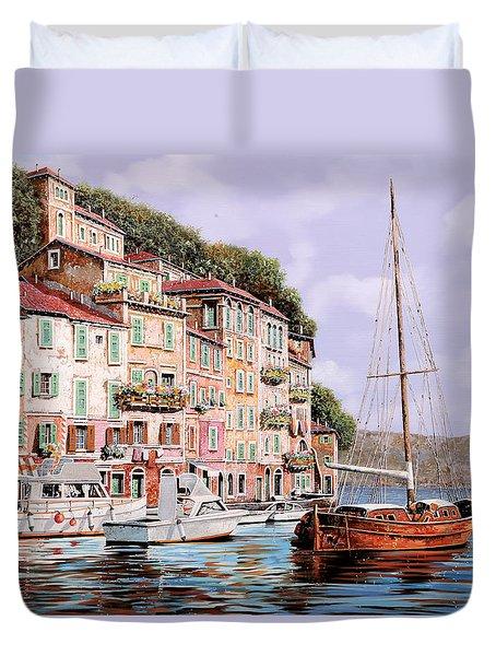 La Barca Rossa Alla Calata Duvet Cover by Guido Borelli